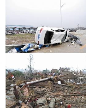 江苏盐城遭龙卷风冰雹袭击