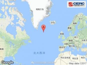大西洋雷克雅内斯海岭附近发生6.0级左右地震